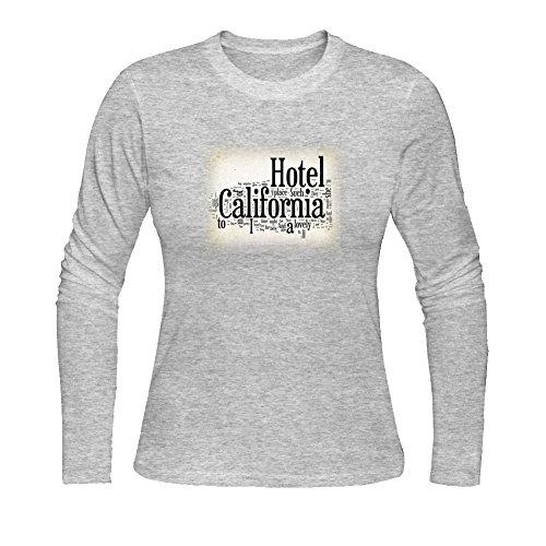 - Diy Hotel California Lyrics Women's Tshirt Long Sleeve by Fangbai Liu L Grey