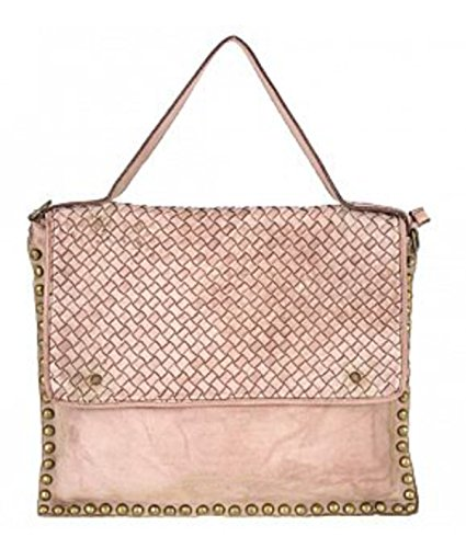 Superflybags Borsa Donna Messanger A Spalla In Vera Pelle Vintage Intrecciata +Borchie modello Sierra Made In Italy Rosa