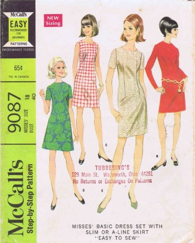 - McCall's 9087 Misses Slim A-line Shift Dress Vintage Sewing Pattern Check Offers for Size