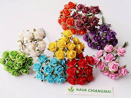 NAVA CHIANGMAI 100 pcs Mini Rose Mixed Color 10 mm Artificial Mulberry Paper Flower scrapbooking wedding doll house supplies card (Individual Album Mini)