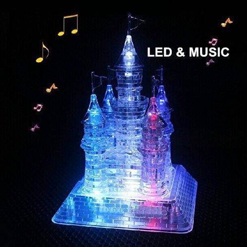 StillCool 3D Musical Puzzle Assembly Puzzle 3D Jigsaw with Beautiful Light-Up (Crystal Castle) -