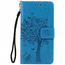 Yiizy Sony Xperia Z3+ (Xperia Z3 Plus, Xperia Z4, E6553) Case, Tree Printing Design Premium PU Leather Slim Flip Wallet Cover Bumper Protective Shell Pouch with Media Kickstand Card Slots (Blue)