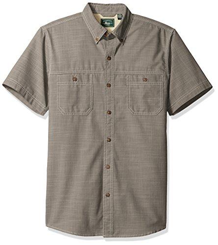 G.H. Bass & Co. Men's Rock River Textures Solid Crosshatch Short Sleeve Shirt, Pewter, Large