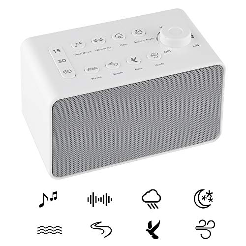 White Noise Sound Machines for Sleeping with 8 Natural Soothing Sounds – Portable Sleep Sound Therapy for Home Office