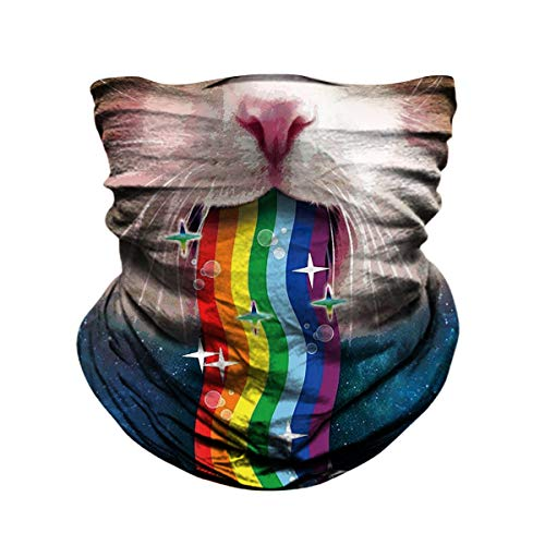 JOEYOUNG Skull Face Mask - UV Sun Dust Protection Neck Gaiter, Half Motorcycle Face Mask Skull Bandana Mask, Seamless Headwear Tube Mask for Fishing Hunting Cycling Men Women (Rainbow cat-539)