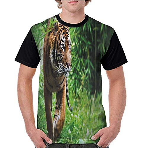- Women Print Tees,Tiger,Siberian Wild Cat Habitat S-XXL Custom T-Shirt Fashion Style