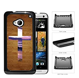 Brown Wood Pattern with Purple Sky Sunset Cross Hard Snap on Cell Phone Case Cover Android HTC One M7