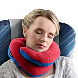 BCOZZY Chin Supporting Travel Pillow - Supports the Head, Neck and Chin in in Any Sitting Position. A Patented Product. Adult Size, RED