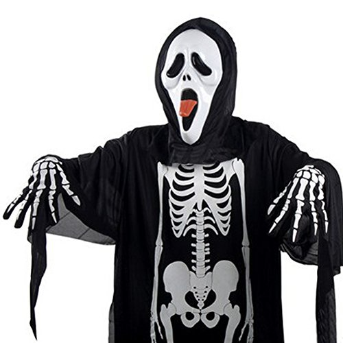 Aquarius CiCi Scream Costume Skeleton Skull Evil Devil Ghost Robe Halloween Costume for Adults & (Scary Halloween Contacts)