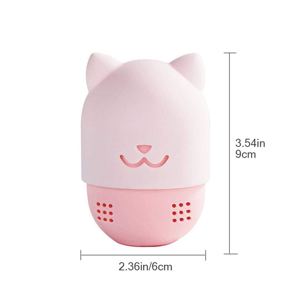 Rosa Xiton 1ST/ÜCK Silikon-Make-Up-Schwamm Katze geformt Koffer Foundation Schwamm Schutzh/üLle Beauty Mixer Holder Kapsel Kosmetischer Schwamm-W/äSchest/äNder