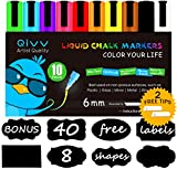 10 Colors - QIVV Liquid Chalk Markers Pens - 6mm Reversible Tip (CHISEL/BULLET) - Premium Wet Erase Chalk Markers - Windows, Menu, Bistro, Whiteboards [Free 2 Reversible Tip + 16 Chalkboard Labels]