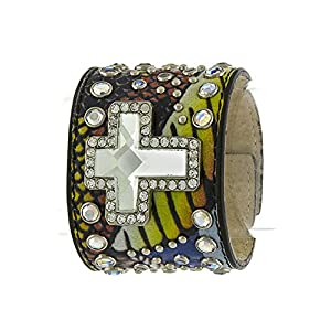 KARMAS CANVAS CROSS ORNATE ACCENT MULTI LEATHER BRACELET