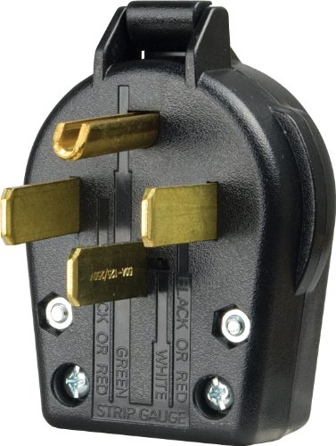EATON Wiring S21-SP-L Commercial Grade Range and Dryer Angles Plug with 30-Amp, 125/250-Volt, 14-30-NEMA Rating, Black