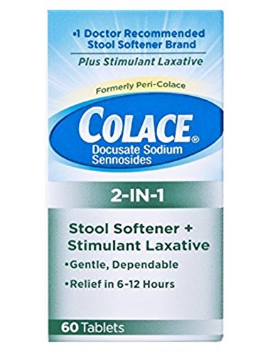 Colace 2-in-1 Stool Softener & Stimulant Laxative Tablets, 60 Count, Gentle Constipation Relief in 6-12 - Laxative Stool Plus Colace Peri