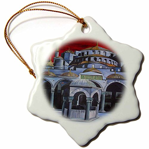 Ahmed Mosque Sultan (3dRose orn_18279_1 Istanbul Sultan Ahmed Mosque Porcelain Snowflake Ornament, 3-Inch)
