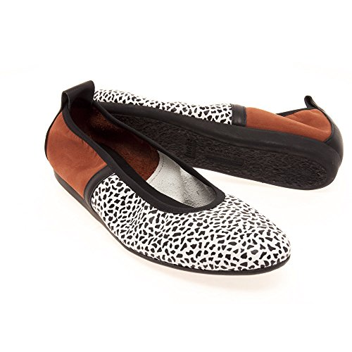 Arche Lamour Women's Ballerina Shoe in Rust, Black and White Leather 225 Noir/Wenge