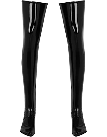 523031db6 Alvivi Men s Patent Leather Thigh High Footed Stockings Clubwear Cosplay  Costume Accessory