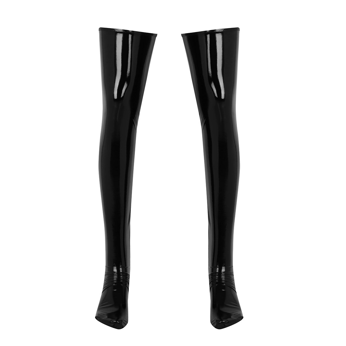 Alvivi Men's Wet Look Faux Leather Thigh High