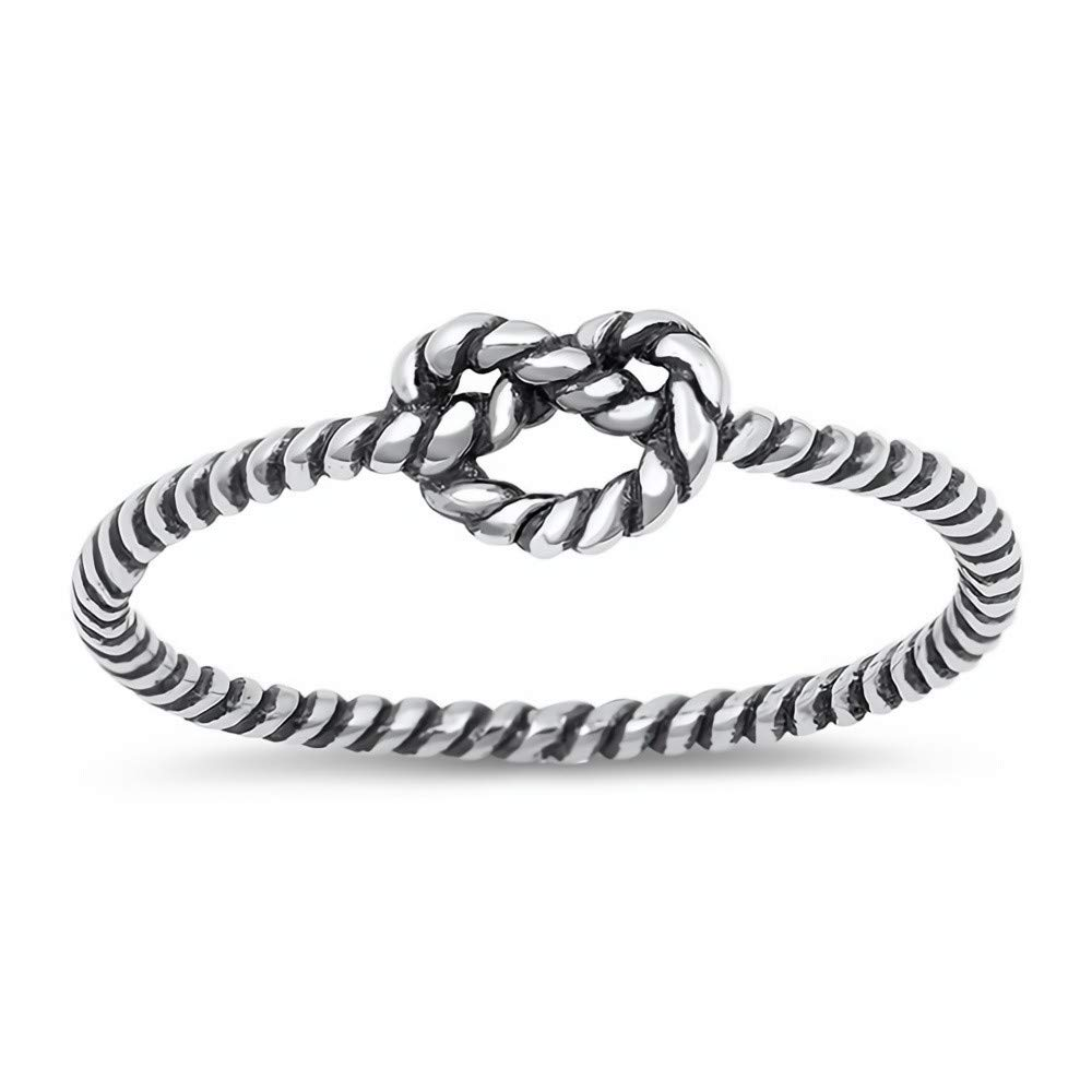Glitzs Jewels 925 Sterling Silver Ring Cute Jewelry Gift for Women in Gift Box Knot