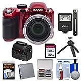 KODAK PIXPRO AZ421 Astro Zoom Digital Camera (Red) with 32GB Card + Battery + Case + Flash + Tripod + Kit