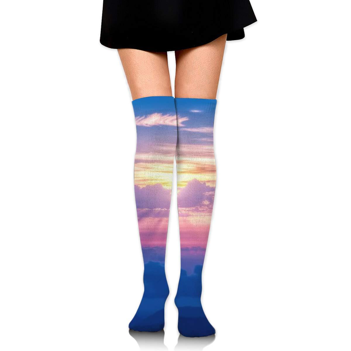 Kjaoi Girl Skirt Socks Uniform Morning Sun Light Sky Women Tube Socks Compression Socks