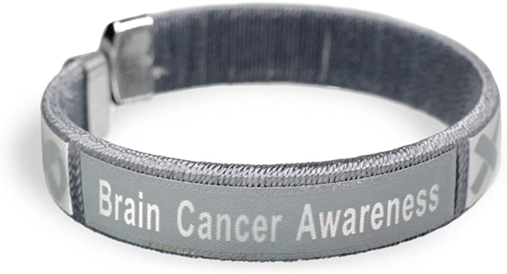 Fundraising For A Cause 25 Pack Brain Cancer Awareness Bangle Bracelets in a Bag (Wholesale Pack - 25 Bracelets)