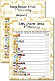 20 Kids Movie Emoji Pictionary Baby Shower Games Ideas For Moms, Dads, Kids, Girls or Boys, Couples, Adults, Fun Cute Shower Party Bundle Set, Gold Favor, Gender Neutral Unisex Funny Guessing Cards