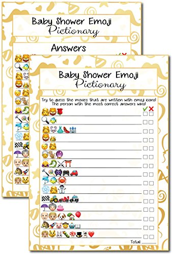 20 Kids Movie Emoji Pictionary Baby Shower Games Ideas For Moms, Dads, Kids, Girls or Boys, Couples, Adults, Fun Cute Shower Party Bundle Set, Gold Favor, Gender Neutral Unisex Funny Guessing Cards -