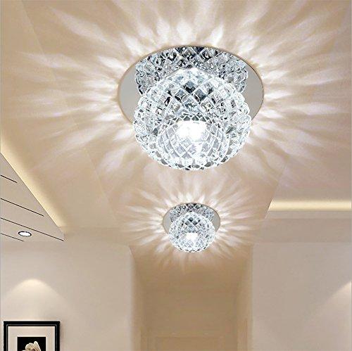 - Ginamart Modern Crystal 5W LED Ceiling Light Fixture 85-265V Flush Mount Aisle/Corridor/Porch Light Pendant Lamp Lighting Chandelier (Cool White)
