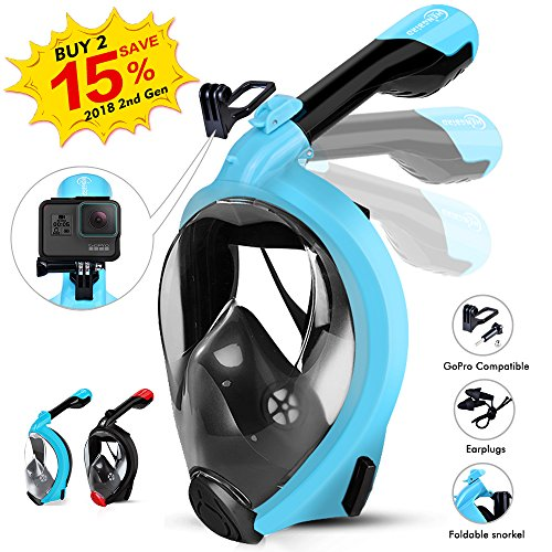 HENGBIRD Snorkel Mask with Detachable Camera Mount, Foldable Easybreath Full Face Scuba Mask Snorkeling Mask with 180