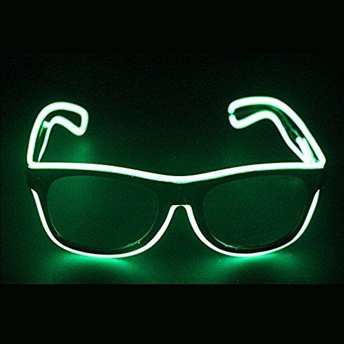 [Bandzqq EL Wire Glasses Led DJ Bright Light Safety Light Up Multi-color Shutter Frame Costumes LED Flashing Glasses (Lemon Green)] (Disco Dj Costume)
