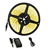 guaiboshi 32.8ft/10M Warm White Waterproof LED Strip Light, 3000K 24V 6A Flexible LED 5050 Lamp Tape DIY Full Kit for Home Indoor Decoration, Power Supply Included (10M Warm White Waterproof)