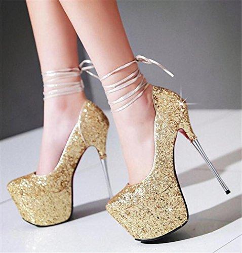 Frauen Schuhe Party Club Stöckelabsatz Plattform Pailletten Glitter Cross Straps Größe 35 bis 42 gold