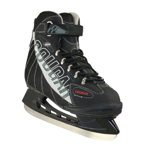 American Athletic Shoe Senior Cougar Soft Boot Hockey Skates, Black, 11