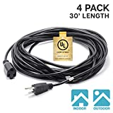 ETOPLIGHTING |4-Pack|3 Prong 30ft Power Extension Cord Cable Extender Outlet Saver, 18AWG [0.824mm²] 300V UL Listed, Indoor/Outdoor, APL1748