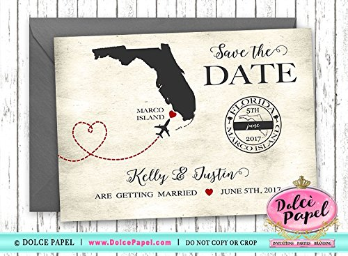 10 Destination Wedding Airplane Travel Custom 5x7 Wedding Save The Date Cards -