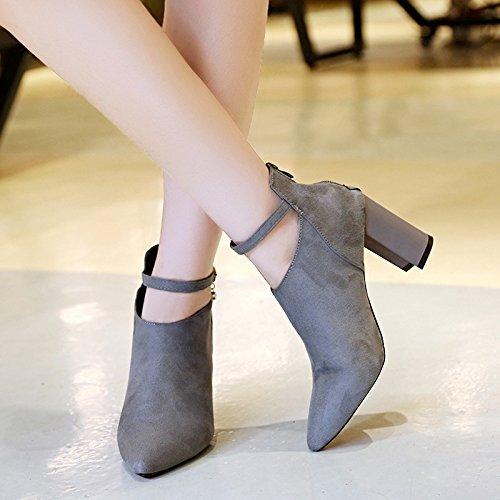 72c684b1e07 Amazon.com   SDKIR-Heel heel Korean heel suede high heels short boots  shallow tips gray Thirty-eight   Sports   Outdoors