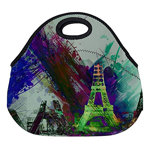 (FGN Eiffel Tower Paris France Europe Landmarks Famous Neoprene Lunch Bag Tote Reusable Insulated Waterproof School Picnic Carrying Lunch box For Women, Men,)