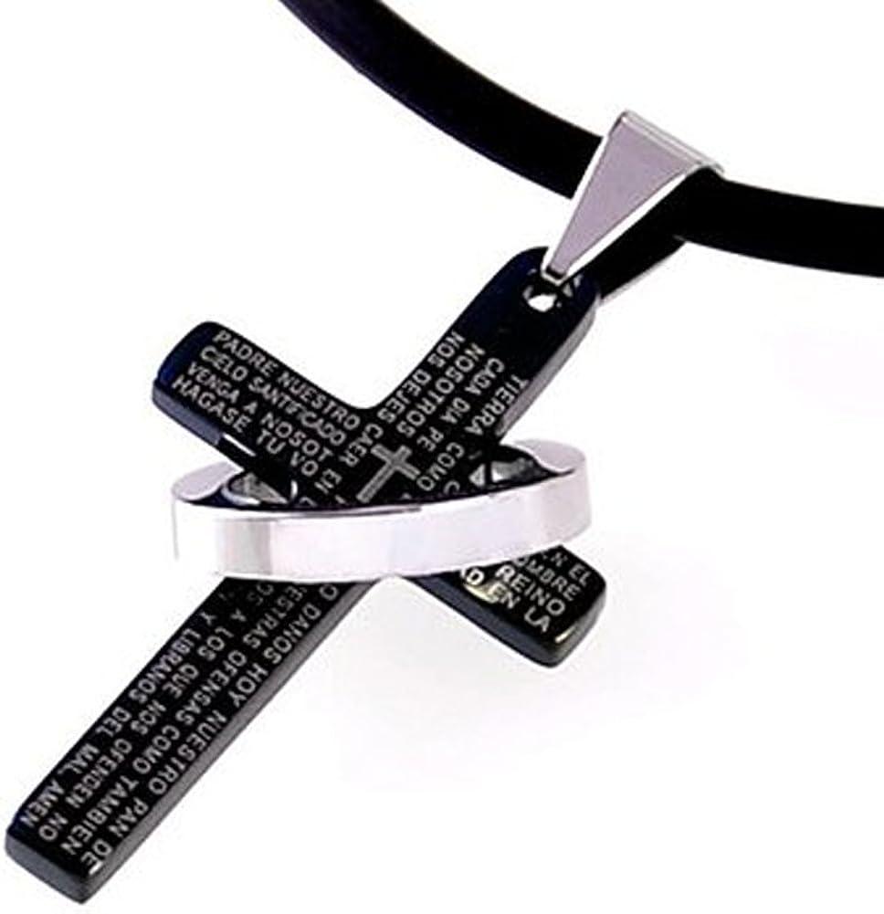 DonDon Collar de Cuero con Colgante Cruz de Color Negro y Anillo de Acero Inoxidable en Bolsa de Terciopelo de Color Negro