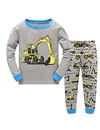 "Babylike ""folklift"" little boys 2 Piece Pajama 100% Cotton(Size 2-7 Years)"