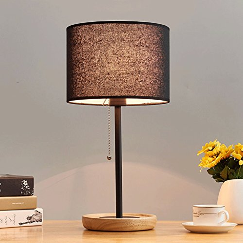 European-style Minimalist Wrought Iron Desk Lamp, Non-slip Log Base, LED Dimmable Zipper Switch, Handmade Linen Fabric Lampshade Table Lamp (Color : Black) - Handmade Zipper Fabric