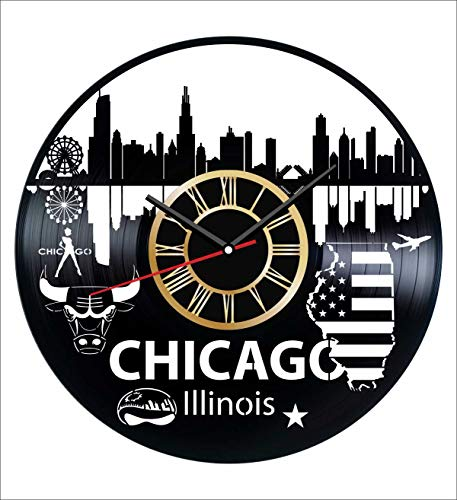 Illinois Chicago Vinyl Wall Clock Vintage Record - Get Unique Home and Office Decor Bedroom Kitchen Kids Living Room - Gifts for Men Women Kids Father Mother - Wall Art - Vintage Illinois Clock