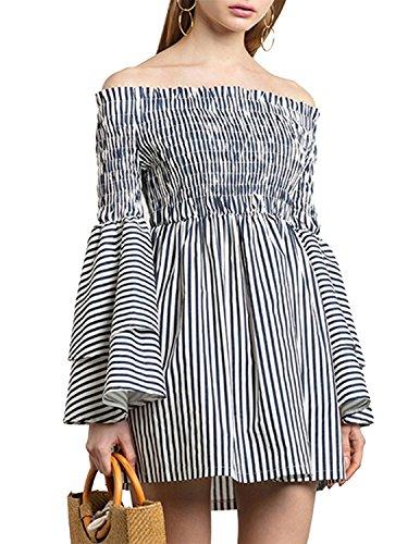 HaoDuoYi Women Off Shoulder Layered Stripe Smocked Flare Sleeve Mini Dress(S,Stripe)