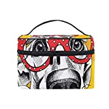 Cosmetic Bags Christmas Hat Cartoon Fine Dog Head Large Travel Makeup Organizer Double Zipper Toiletry Pouch Bag