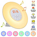Elfeland Wake up Light Digital Sunrise LED Alarm Clock, 7 Changeable Colors, 10 Levels Brightness, 6 Natural Sounds & FM Radio, Sunset Simulation Snooze Function Night Light Heavy Sleepers