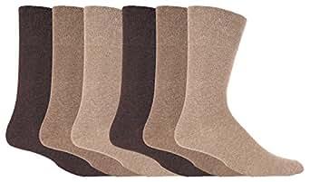 IOMI - 6 Pack Mens Non Elastic Cotton Diabetic Socks with Hand Linked Toe Seams (12-14 UK, Beige)