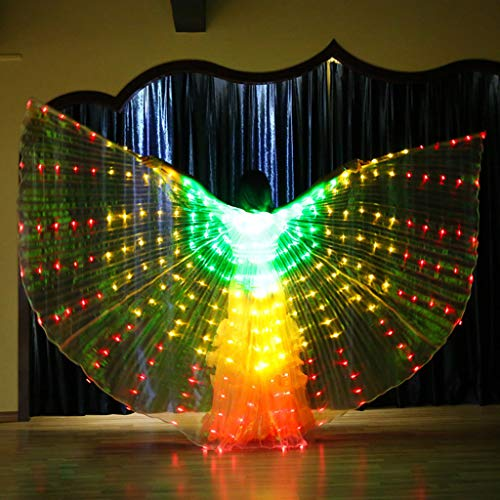 (Gotian Women LED Belly Dance Wings Colorful Butterfly Wings with Telescopic Stick, Perfect for Belly Dance, Shows, Annual Fancy-Dress Rave, Carnival, Stage, Halloween Party, Bar)