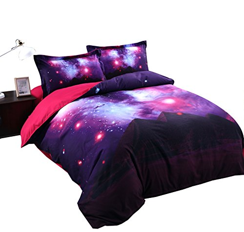 Alicemall 3D Galaxy Bedding Purple Red Blue Shining Stars and Pyramid Prints 4-Piece Duvet Cover Sets Cool Galaxy Bedroom Sheets Sets, No Comforter, Queen Size Bedding (Queen, Pyramid & Galaxy)