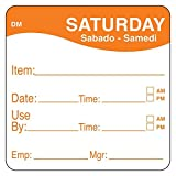 DayMark 1100536 DissolveMark 2'' Saturday Use By Day Square - 250 / RL