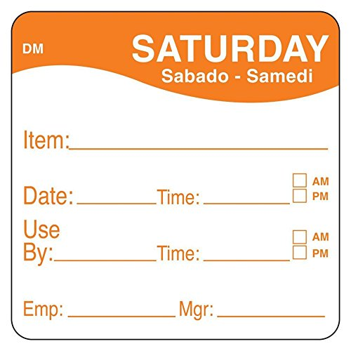 DayMark 1100536 DissolveMark 2'' Saturday Use By Day Square - 250 / RL by DayMark Safety Systems